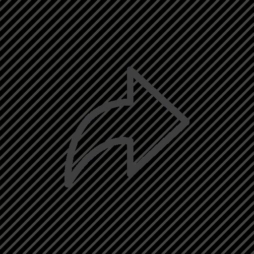 arrow, forward, next, open, open in, right icon