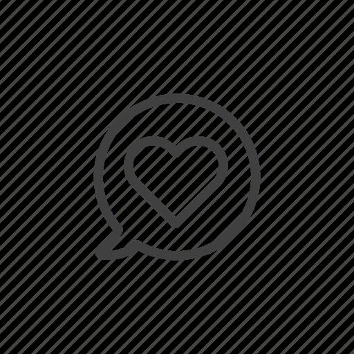 bubble, chat, communication, flirt, heart, love, message icon