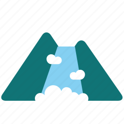 fountain, lanscape, mountain, nature, waterfall icon