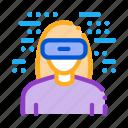 equipment, glasses, reality, simulation, virtual, wearing, woman