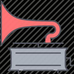 gramophone, melodies, music, phonogaph, victrola, vintage, vinyl icon