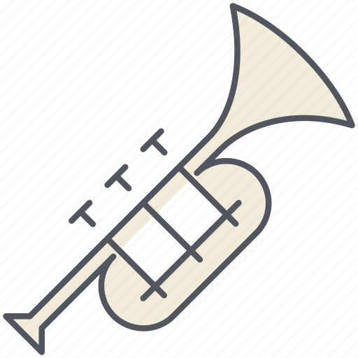 announcement, instrument, musical, song, trumpet, wind icon