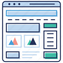 browser page, responsive design, web dashboard, web design, web layout, wireframe icon