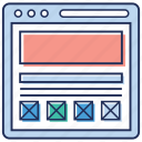 company website, user experience, user interface, web design, web layout, wireframe layout icon