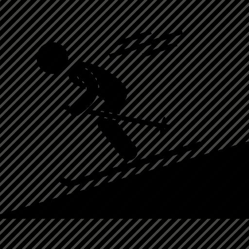 hobby, outdoor, recreational, rider, skier, sledding, snowboarding icon