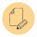 enhance, improvements, page, paper, pencil, review, sketch icon
