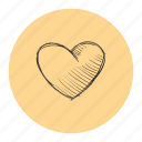 heart, like, love, romantic, sketch, valentine icon