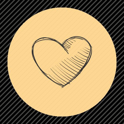 heart, like, love, romantic, sketch, valentine icon