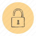 access, password, privacy, protection, security, technology, unlocked icon