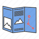 cartography, guide, navigation, paper map, route, travel icon