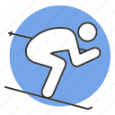 activity, person, ski, skier, skiing, sport, winter icon