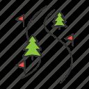 route, ski, skiing, snow, track, winter, path icon