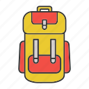 accessory, backpack, bag, camping, hiking, rucksack, tourism icon