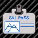 badge, id card, pass, resort, ski, skipass, identity icon