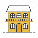 building, cottage, hotel, house, real estate, residence, two-storey icon