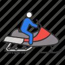 bike, driver, motor sled, person, snowmachine, snowmobile, winter icon