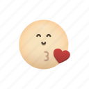 a, blowing, emoji, face, kiss icon