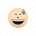 emoji, face, grinning, sweatv, with icon