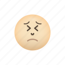 crying, emoji, face, negative, persevering, sad icon