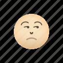 emoji, face, negative, sceptic, smirking icon
