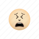 crying, emoji, face, negative, tired icon