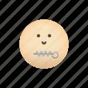 emoji, face, mouth, secret, silence, zipper icon