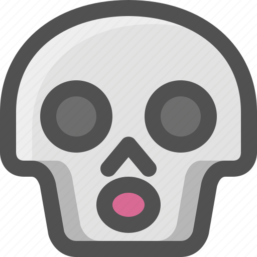 atonished, avatar, death, emoji, face, skull, smiley icon