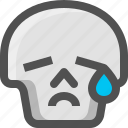 avatar, cry, crying, death, emoji, face, sad, skull, smiley, tear