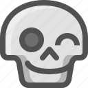 avatar, death, emoji, face, guiño, skull, smiley, wink