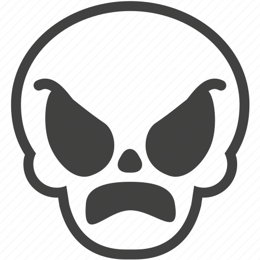 angry, emotion, face, mad, mood, rage, skull icon