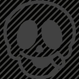 careless, crazy, face, skull, smile, smiley, tongue icon