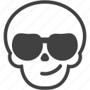cool, face, skull, smile, smirk, summer, sunglasses icon