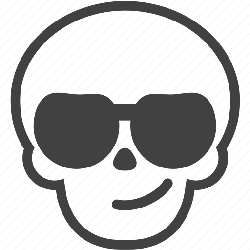 cool, face, skull, smile, smirk, summer, sunglasses icon