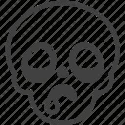 drool, emoji, emotion, face, skull, sleepy, tired icon