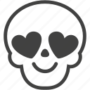 face, heart, love, romantic, skull, smiley, valentine icon
