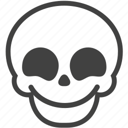 emotion, expression, face, happy, skull, smile, smiley icon