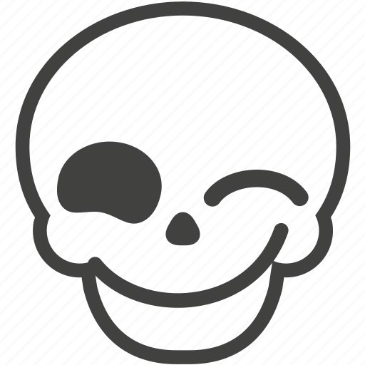 emoji, emotion, face, skull, smile, smiley, wink icon