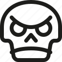 angry, avatar, death, emoji, face, skull, smiley icon