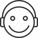 avatar, emoji, emoticon, expression, face, hearing, music icon