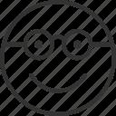 avatar, emoji, emoticon, expression, face, glasses, smiley icon