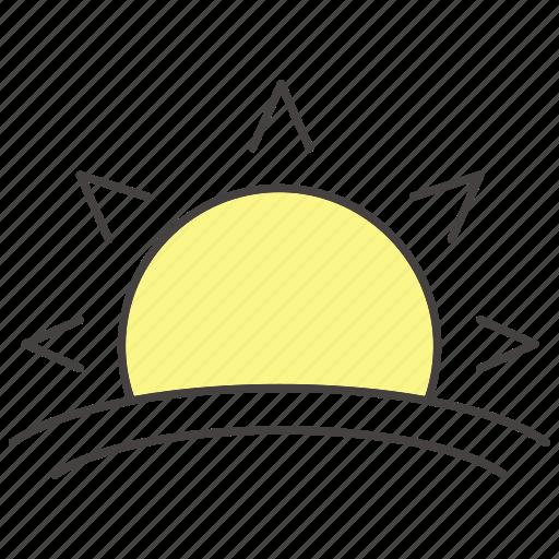 awake, morning, sundown, sunray, sunrise, sunset, sunshine icon