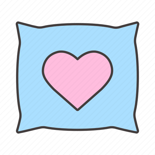 accessory, bed, comfort, cushion, heart, pillow, sleep icon