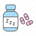 drugs, insomnia, medications, pills, sleepless, treatment, zzz icon