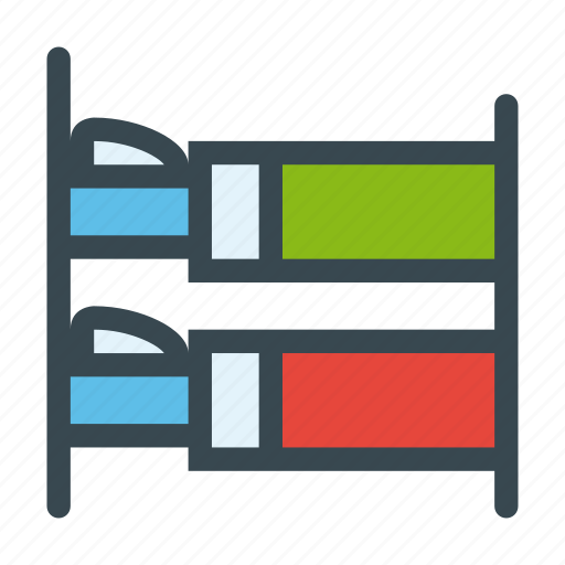 bedroom, beds, bunk, furniture, house, pillows icon