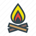 bonfire, camp, campfire, fire, firewood, flame, wood icon