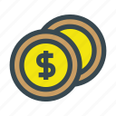 business, coin, coins, currency, metal, money icon