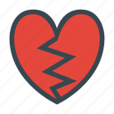broken, heart, love, romance, romantic, valentine, valentines icon