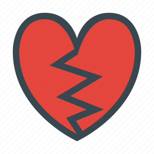 broken, heart, love, romance, romantic, valentine, valentines icon