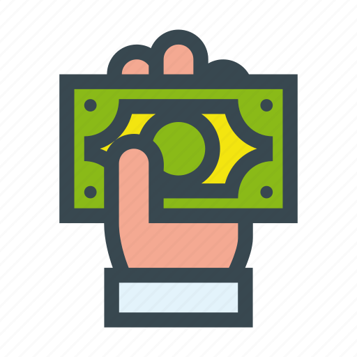 currency, dollar, hand, money, payment, shopping icon