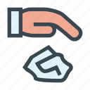 drop, garbage, hand, litter, littering icon